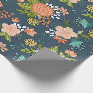 Conception florale de jardin de bleu et de pêche papier cadeau