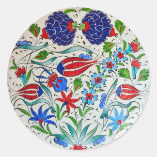 Conception florale turque sticker rond