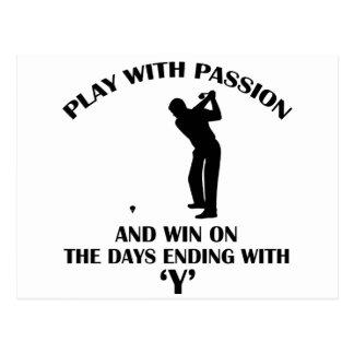 conception fraîche de joueur de golfeur cartes postales