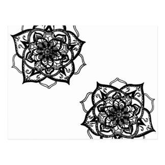 Conception inspirée par mandala noir et blanc carte postale