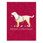 Conception jaune de Joyeux Noël de labrador Cartes Postales