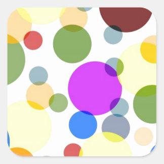 Conception multicolore de pois sticker carré