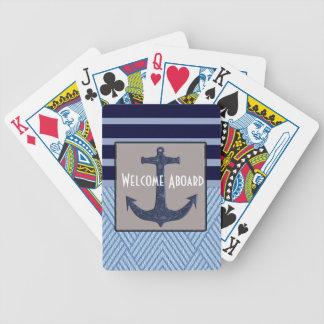 Conception nautique d'ancre et de rayures jeu de cartes