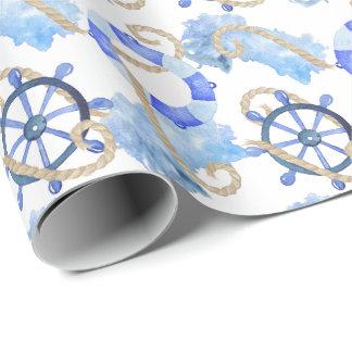 Conception nautique d'aquarelle bleue avec papier cadeau