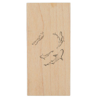 Conception nautique de requins de thème clé USB 2.0 en bois