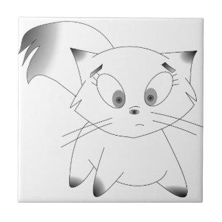 Conception noire et blanche mignonne de chat de carreau en céramique
