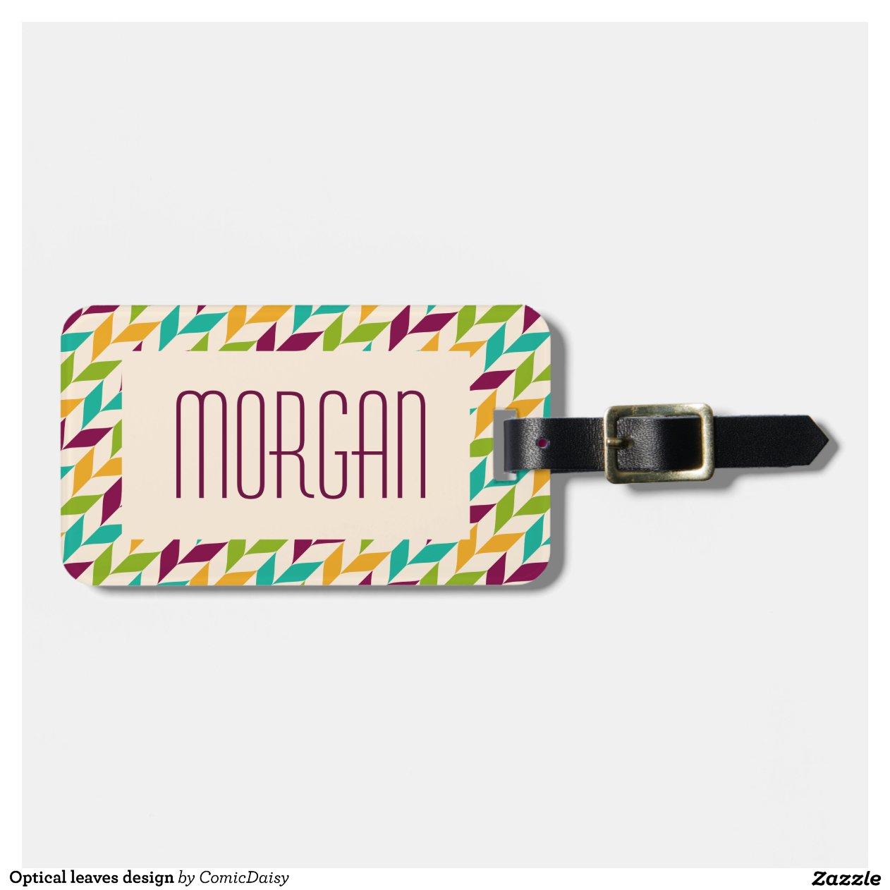 conception optique de feuille tiquette pour bagages zazzle. Black Bedroom Furniture Sets. Home Design Ideas
