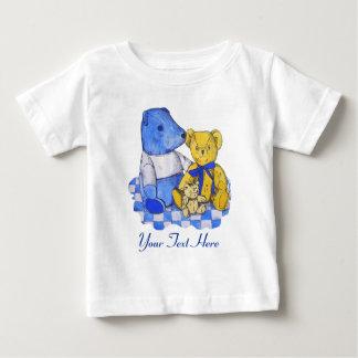 conception originale jaune bleue d'art de nounours t-shirt pour bébé