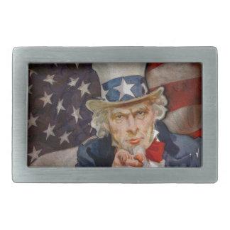 Conception patriotique de drapeau de Steampunk Sam Boucles De Ceinture Rectangulaires