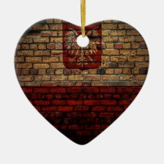 Conception polonaise de mur de briques de drapeau ornement cœur en céramique
