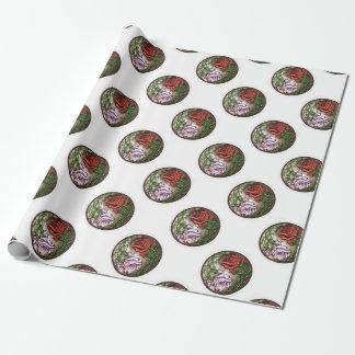 Conception rose de tatouage de yingyang papier cadeau