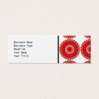 Conception rouge de motif de dentelle mini carte de visite
