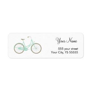 Conception turquoise moderne de bicyclette étiquette d'adresse retour