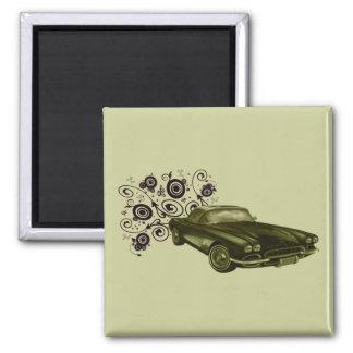 Conception vintage d'art de voiture magnet carré