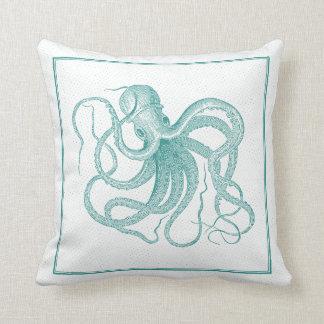 Conception vintage de poulpe nautique bleu-vert coussin