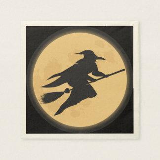 Conception vintage de silhouette de Halloween Serviette Jetable