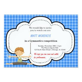 Concurrence gymnastique de garçon (bleue) carton d'invitation  12,7 cm x 17,78 cm