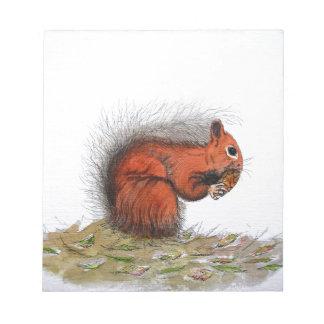 Cône de pin d'écureuil rouge bloc-note