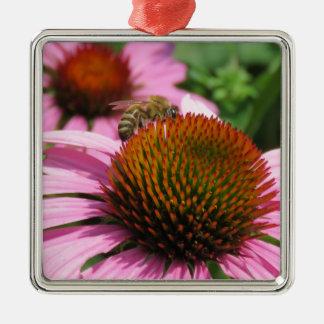 Coneflower pourpre avec l'abeille ornement carré argenté