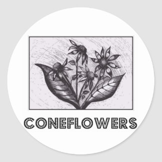 Coneflowers Sticker Rond
