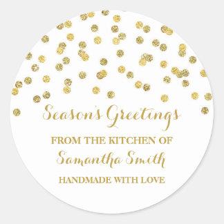 Confettis d'autocollant de cuisson de Noël d'or Sticker Rond