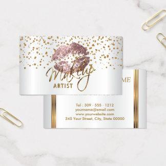Confettis d'or de maquilleur et lèvres roses cartes de visite