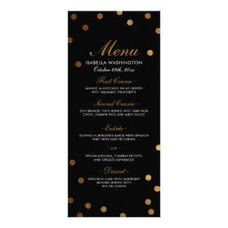 Confettis d'or et menu noir de fête