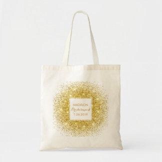 Confettis élégants d'or de Merci de mariage de Sac En Toile Budget