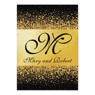 Confettis purs d'or sur le faire-part de mariage