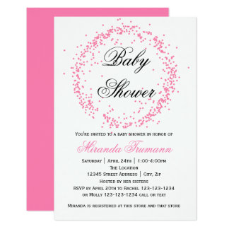 Confettis roses - invitation du baby shower 3x5