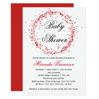 Confettis rouges - invitation de baby shower