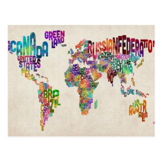 Configuration de texte du monde carte postale