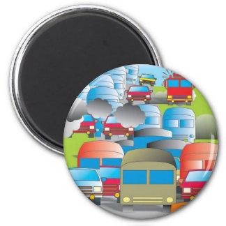 congestion rue pleine de voitures je dessine color magnet rond 8 cm