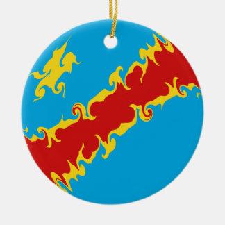 Congo-Kinshasa Gnarly Flag Christmas Ornaments