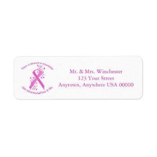 Conscience inflammatoire de cancer du sein étiquette d'adresse retour