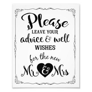 conseil et signe de mariage de partie de souhaits photo d'art
