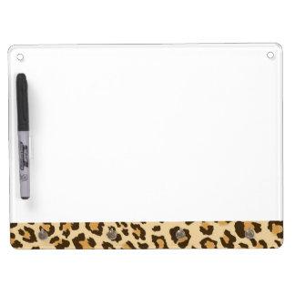 Conseil sec d'effacement d'empreinte de léopard tableau effaçable à sec avec porte-clés