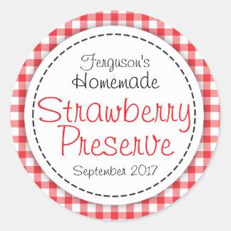 Conserve de fraise ou étiquette ronde de