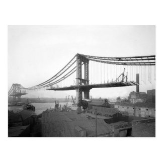 Construction de pont de Manhattan, 1909 Carte Postale