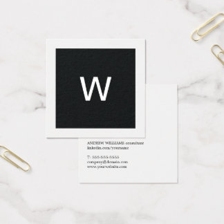 Consultant en matière blanc noir élégant simple de carte de visite carré
