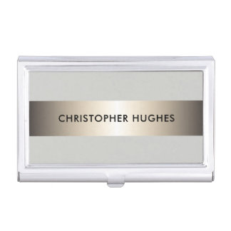 Consultant en matière élégant moderne de gris de porte-cartes de visite