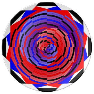Contre- spirale rouge et bleue par Kenneth Yoncich Assiette En Porcelaine