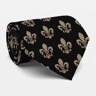 Contrôle Fleur De Lis Pattern de diamant Cravate