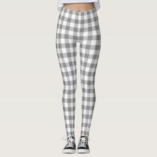 Contrôles gris et blancs de guingan modelés leggings