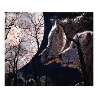 Copie abstraite d'arbre de loup de forêt de lune impression photo