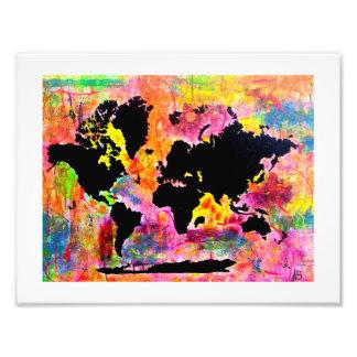 Copie abstraite de carte du monde impression photo