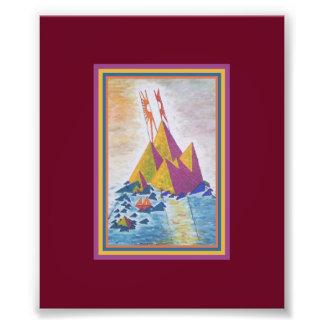 Copie acrylique de peinture d'île abstraite photographies