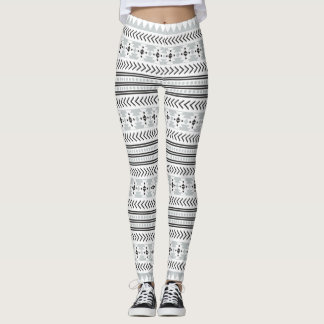 Copie aztèque tribale grise blanche noire ethnique leggings