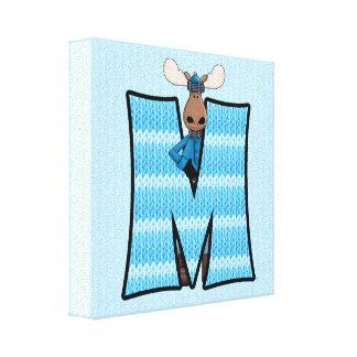 """Copie bleue de toile du monogramme """"M"""" d'orignaux Toiles"""