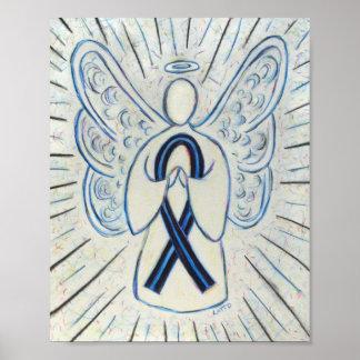 Copie bleue et noire d'affiche d'ange de ruban de poster